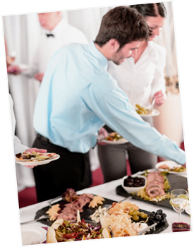 People, buffet dinner, business platters, by Lea