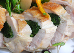 roast chicken stuffed vegetables, private catering banstead